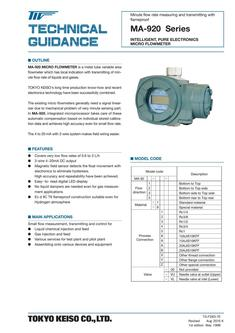 MA-920 Series Metal Tube Variable Area Flowmeter 2017