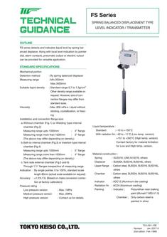FS Series Spring Balanced, Displacement type Level Transmitter / Indicator 2017
