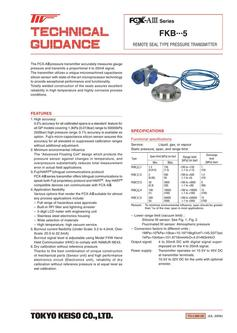 FKB・・・5 Pressure Transmitter (Remote Seal Type) 2017