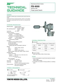 FB-9000 Horizontal, Bellows Type Level Switch 2017