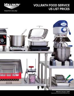 Vollrath Food Service US List Prices 2017