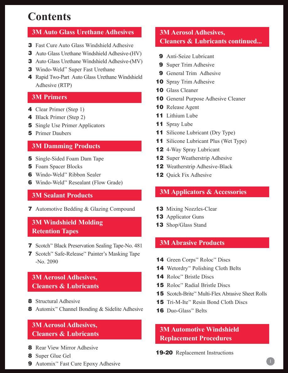 3M Automotive Glass Products Catalog by 3M Automotive