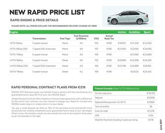 Rapid Spaceback Pricelist 2017