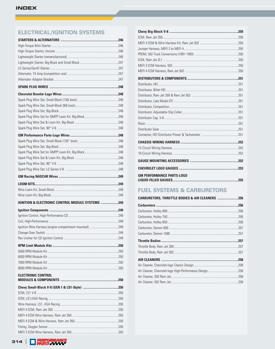 Page 316 Of Gm Performance Parts 2006 Catalog Wire Harness P 322