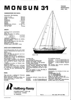 Hallberg-Rassy Monsun 31 standard specification