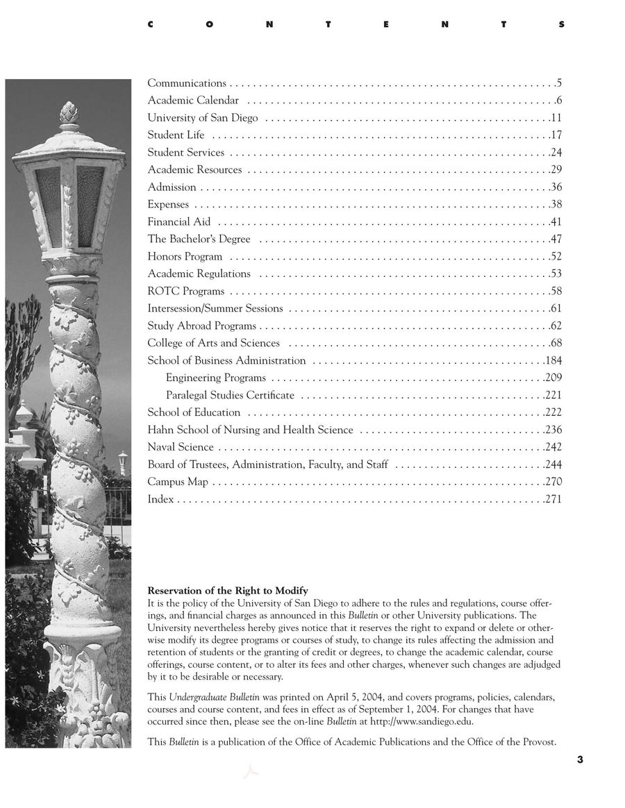 University Of San Diego Academic Calendar.Undergraduate Course Catalog 2004 2006 By University Of San Diego