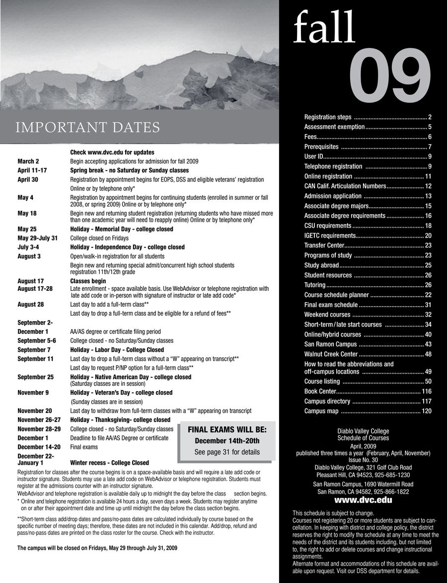 fall 2009 print schedule by diablo valley college