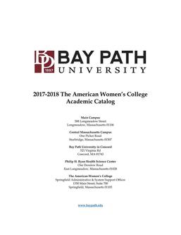 The American Womens College and One-Day-A-Week College Catalog 2017-2018