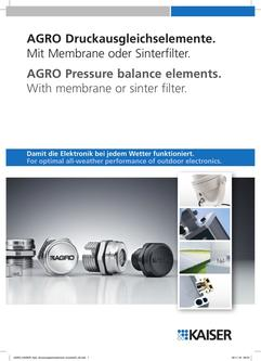 AGRO Pressure balance elements.  With membrane or sinter filter. 2016