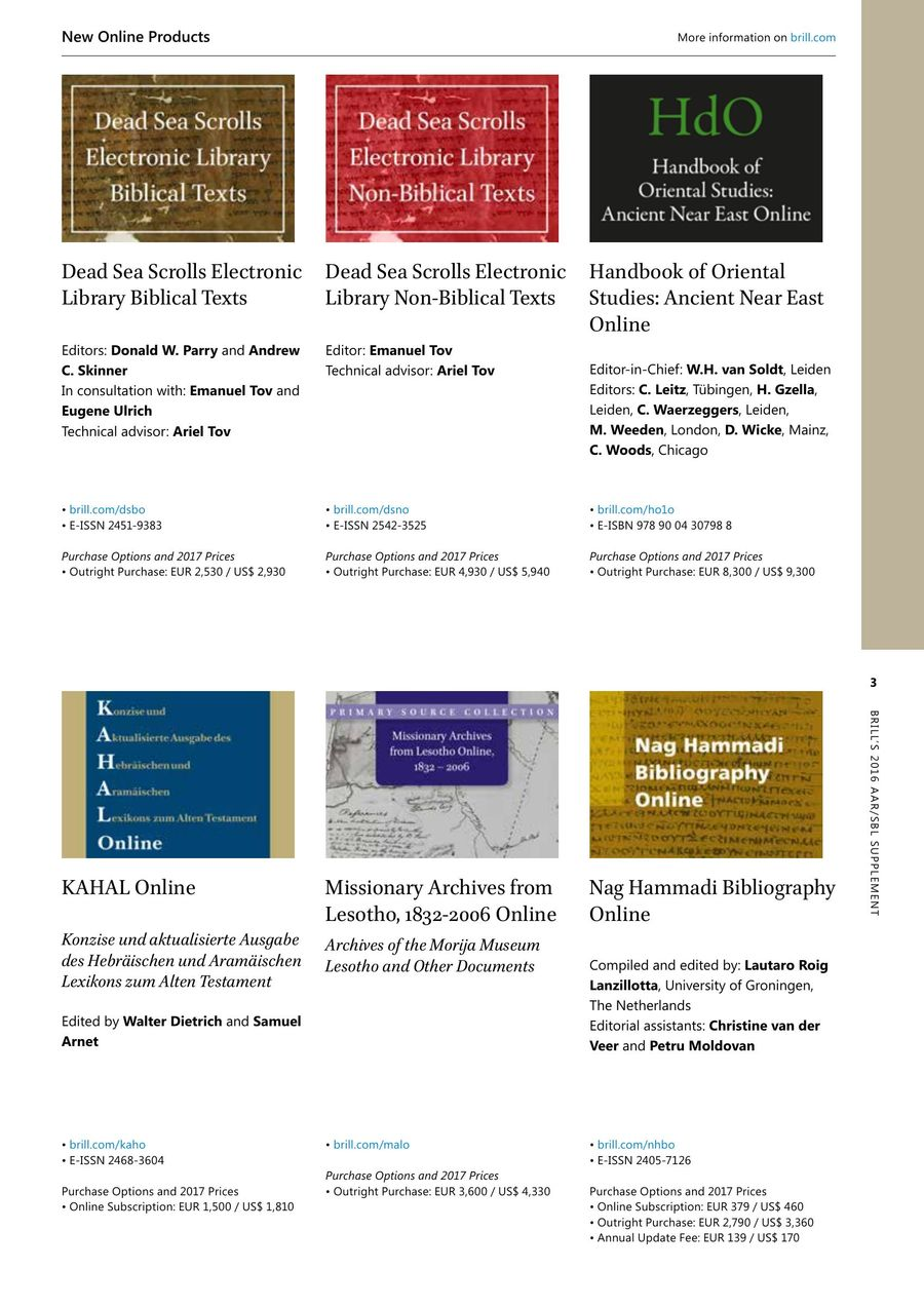 AAR/SBL Biblical and Religious Studies Supplement 2016 by