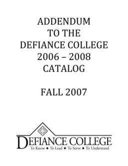 Academic Catalog 2006 -2008 Fall 2007 Addendum