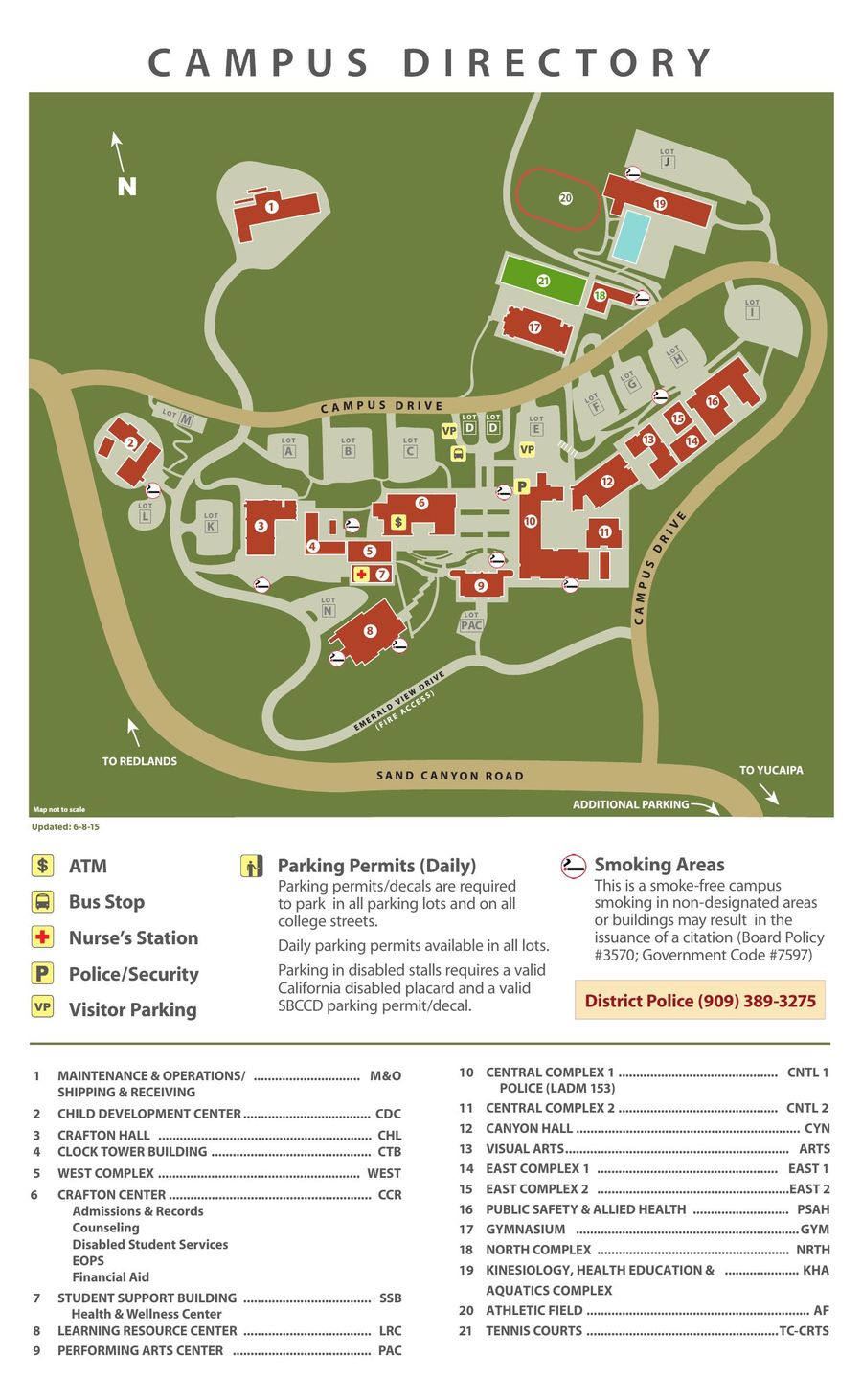 Crafton Hills College Campus Map.2016 2017 Campus Map By Crafton Hills College