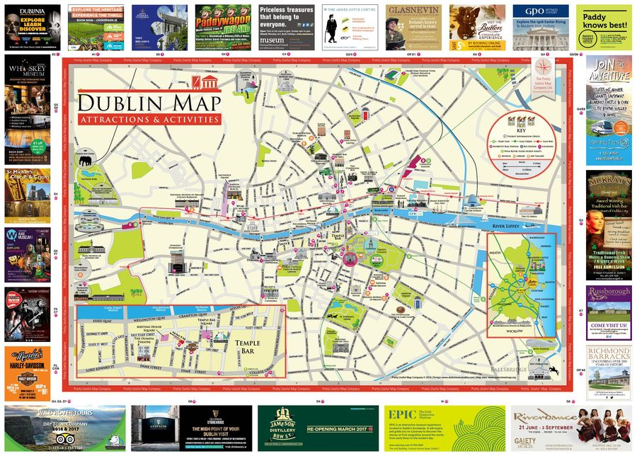 Dublin Attractions and Activities Map 2018 by Tourism Ireland