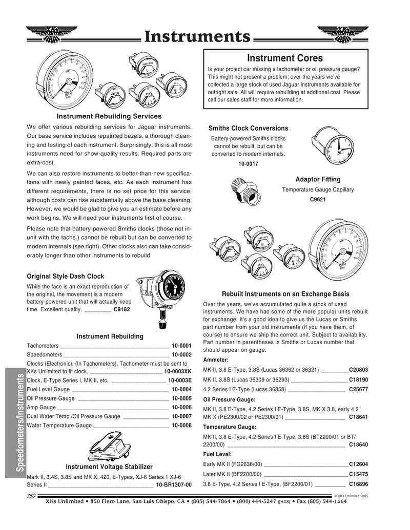 Jaguar Speedometer & Instruments by XKs Unlimited