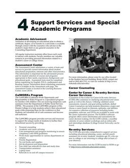 Support Services and Special Academic Programs 2017/2018
