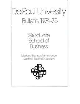 Kellstadt Graduate School of Business Full Year 1974-1975