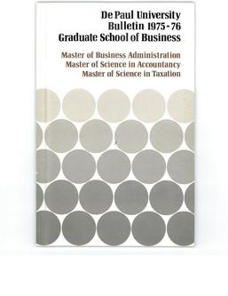 Kellstadt Graduate School of Business Full Year 1975-1976