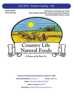 Country Life Natural Foods 2018