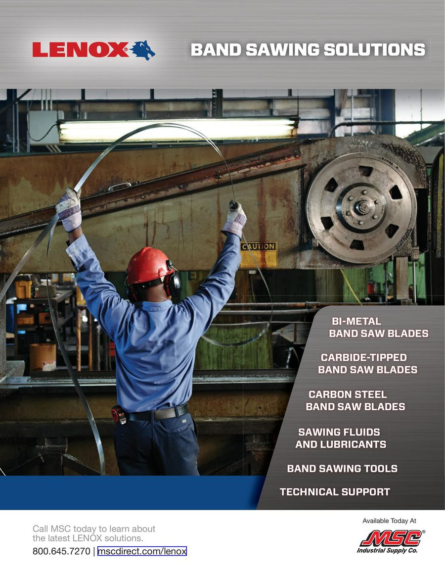 Lenox Band Sawing Solutions 2018 by MSC Industrial Direct