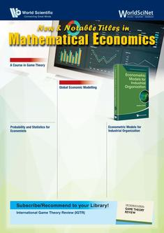 New & Notable Titles in Mathematical Economics 2018