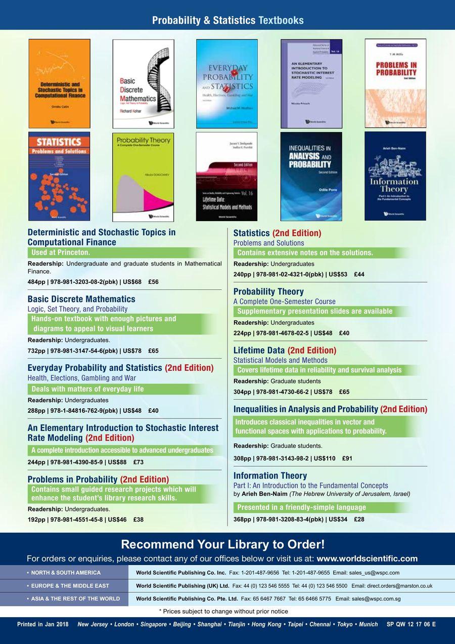 Probability & Statistics Textbooks 2018 by World Scientific