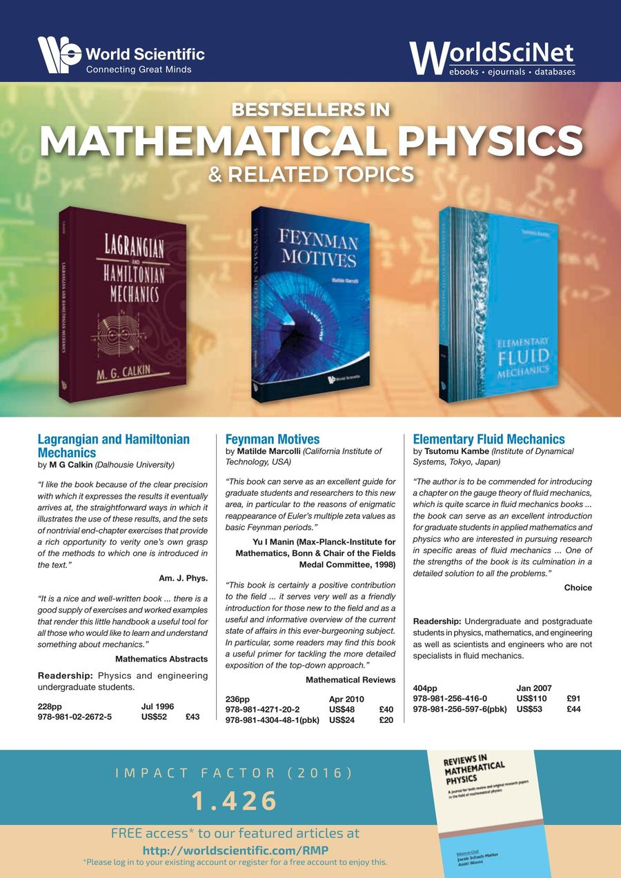 Bestsellers in Mathematical Physics - August 2017 by World