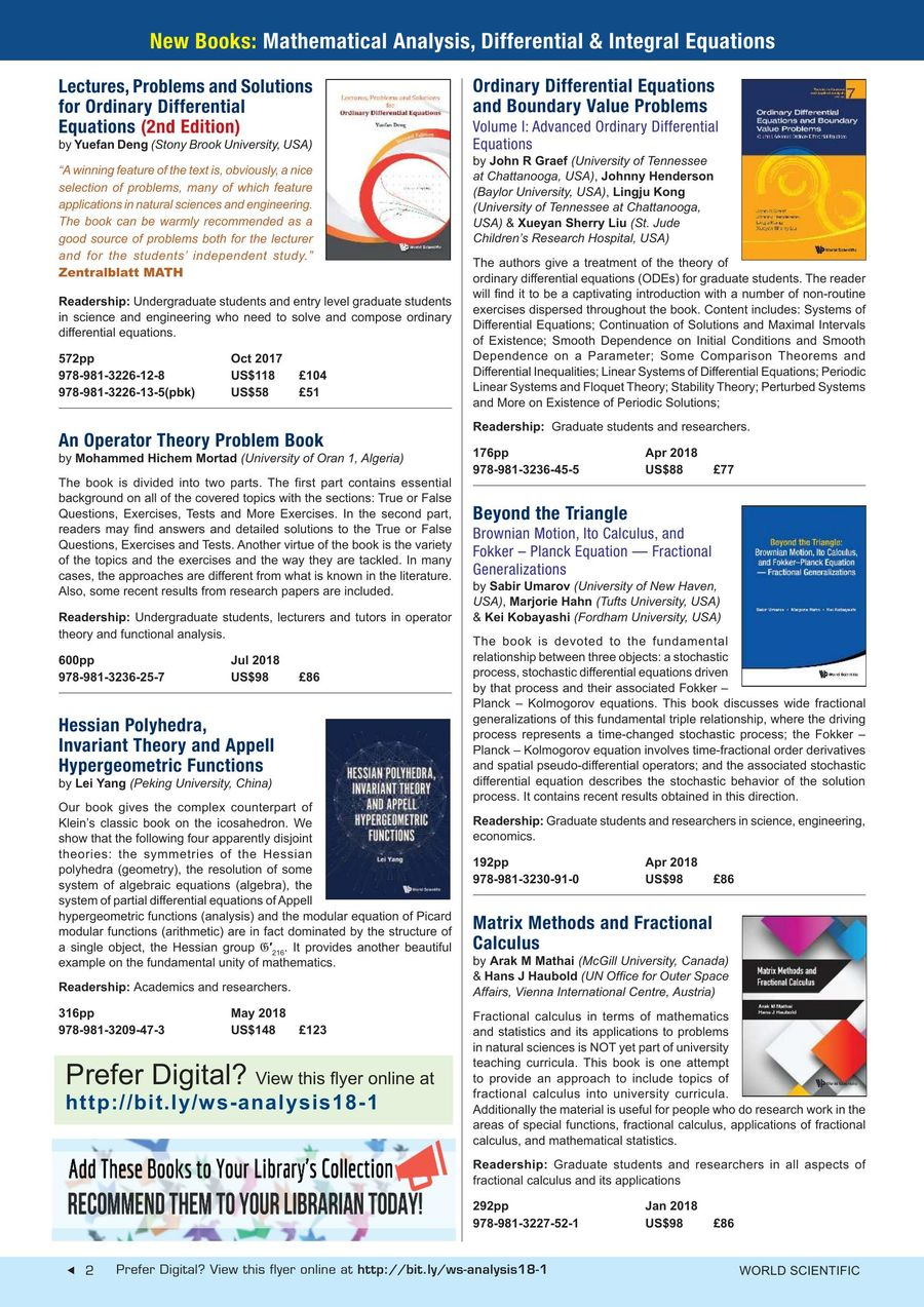 New Books: Mathematical Analysis, Differential & Integral Equations