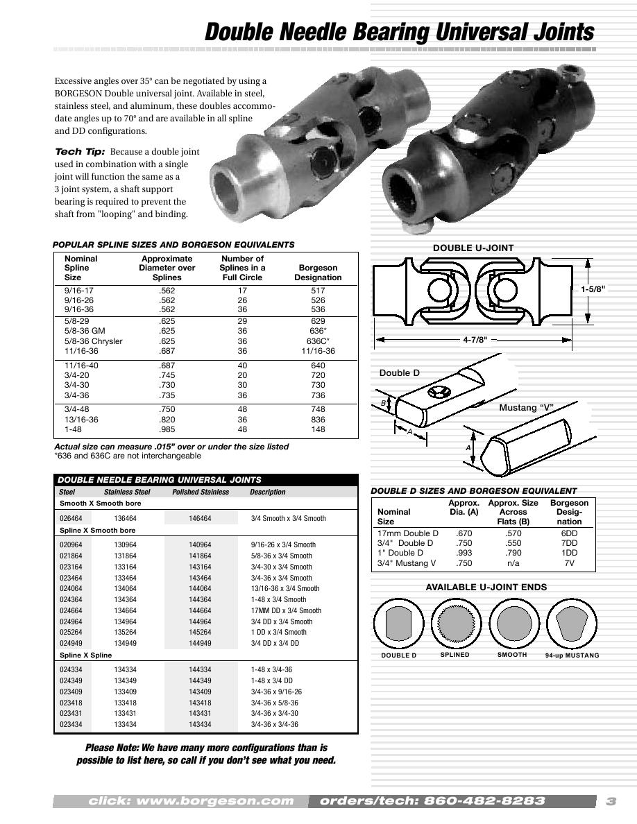 3//4-36 X 3//4-36 Stainless Steel Borgeson 113434 Steering U-Joint