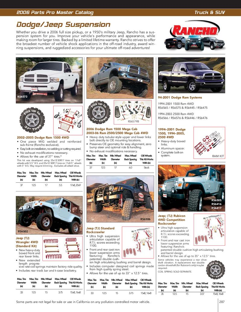 Truck and SUV Suspension Systems by Parts Pro