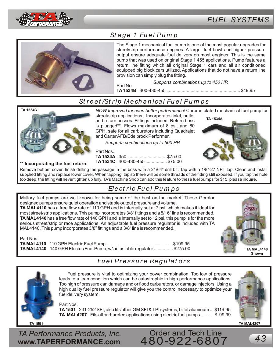 Page 43 Of Buick Performance Parts Catalog Edelbrock Electric Fuel Pump P 164