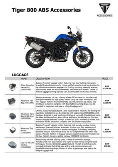 Tiger 800 ABS Accessories 2015 (UK)