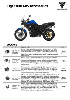 Tiger 800 ABS Accessories 2014 (US)