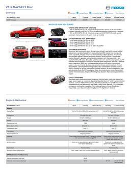 2014 Mazda3 5 Door Features U0026 Specs