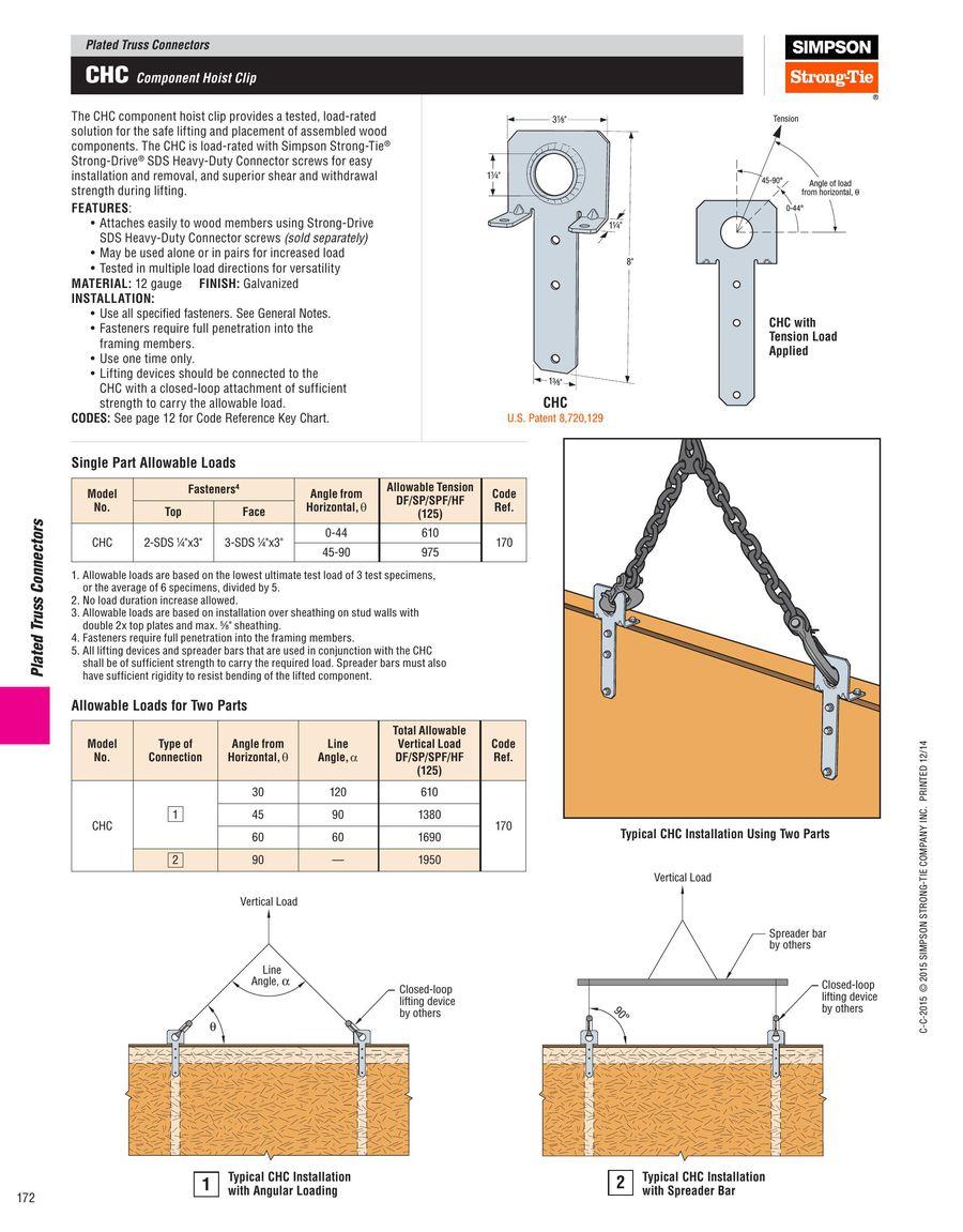 Simpson Strong-Tie CHC Component Hoist Clip