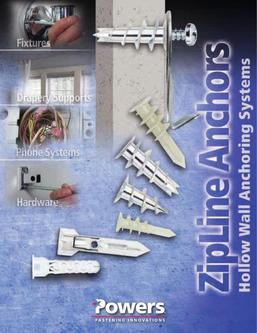 Zip® Line Anchors Hollow Wall Anchoring Systems 04/13