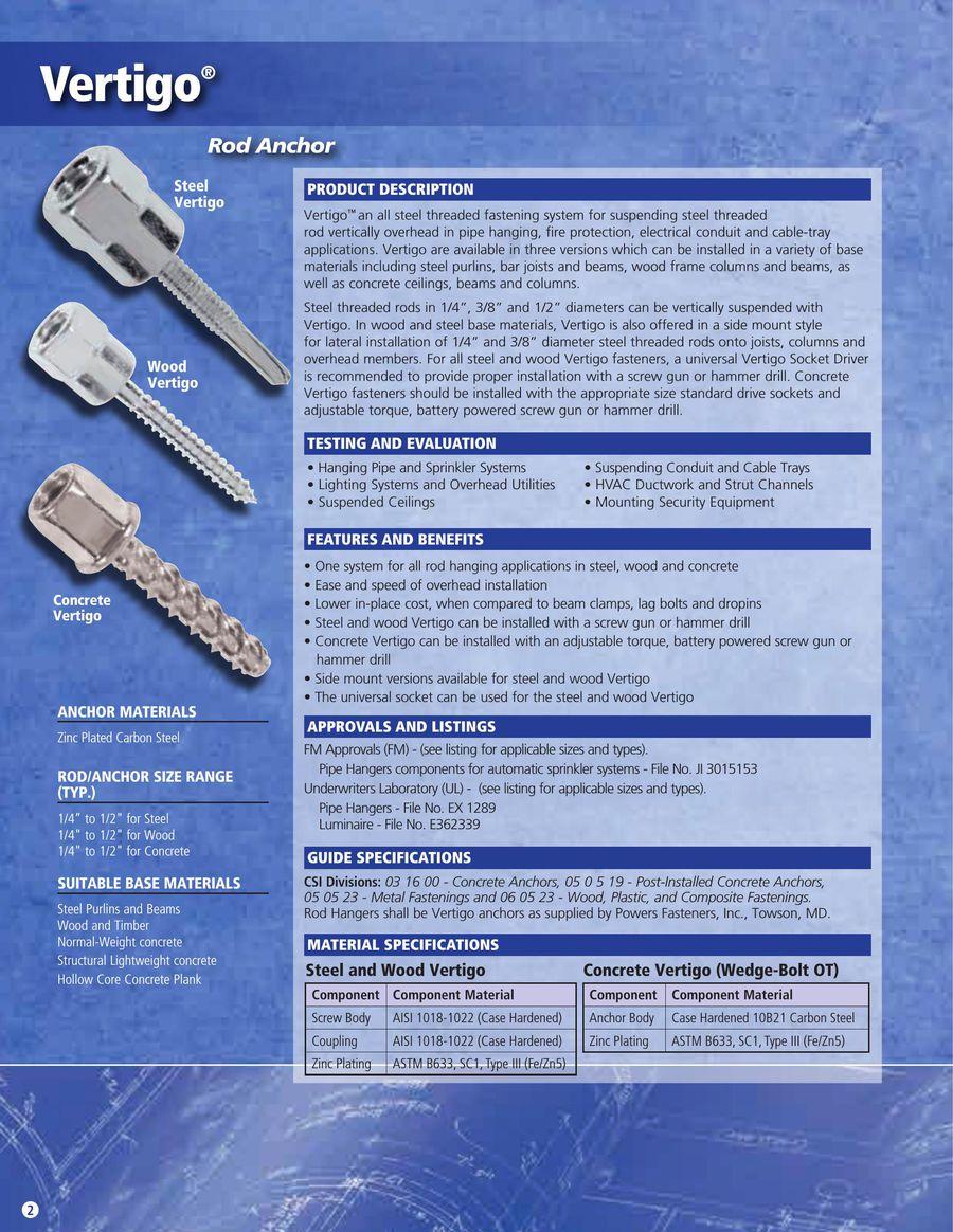 Vertigo™ + Simple Rod Hanging System 04/14 by Powers Fasteners