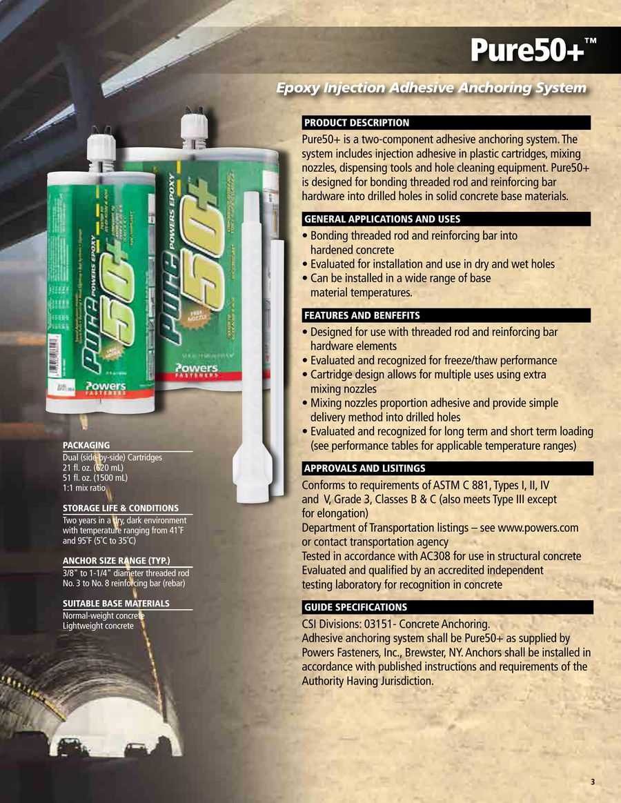 Pure50+™ Epoxy Transportation Adhesive 03/12 by Powers Fasteners