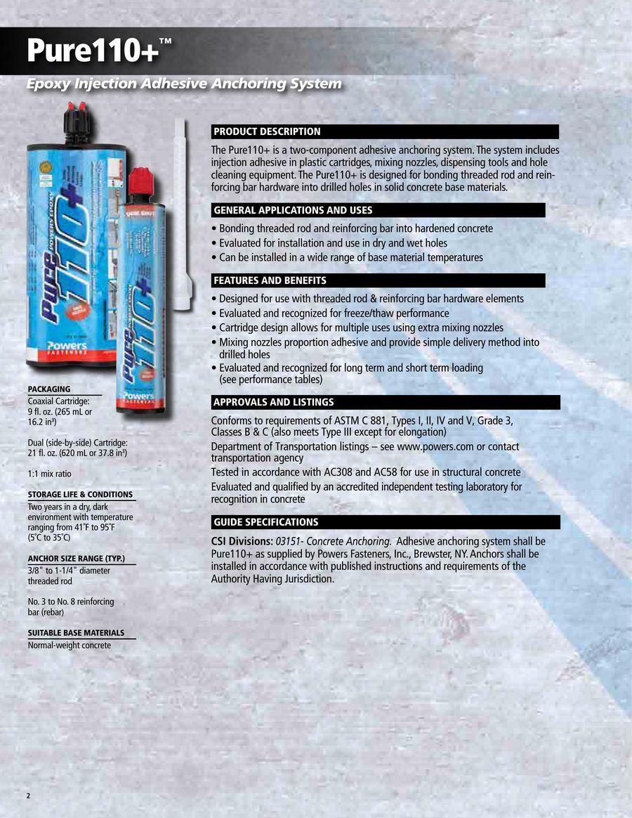 Pure110 Epoxy 1012 By Powers Fasteners